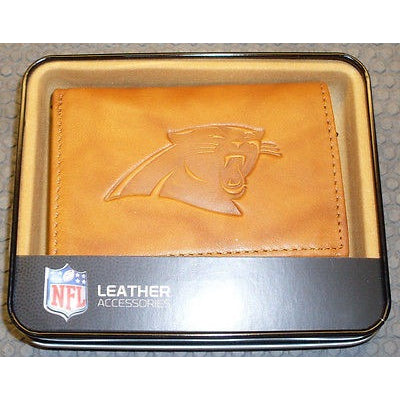 NFL Carolina Panthers Embossed TriFold Leather Wallet With Gift Box