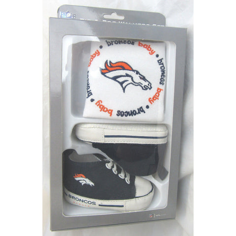 NFL BABY FANATIC BIB & PRE-WALKERS SNEAKERS GREEN DENVER BRONCOS