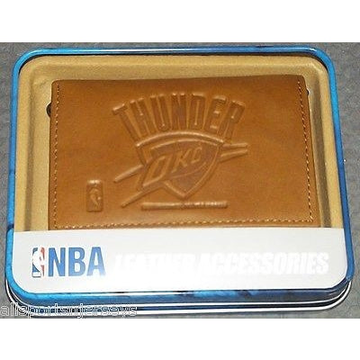NBA Oklahoma City Thunder Embossed TriFold Leather Wallet With Gift Box