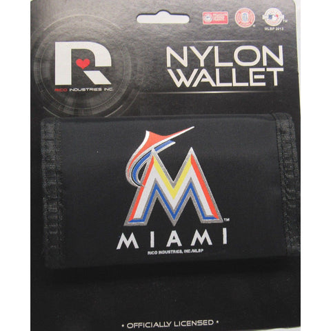 MLB Miami Marlins Tri-fold Nylon Wallet with Printed Logo