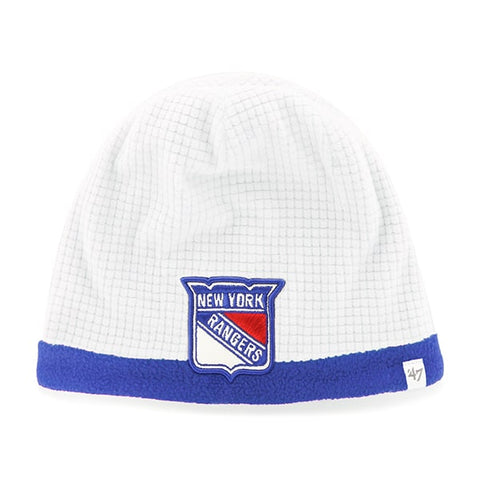 NHL New York Rangers Grid Fleece Beanie White '47 Brand Youth Hat