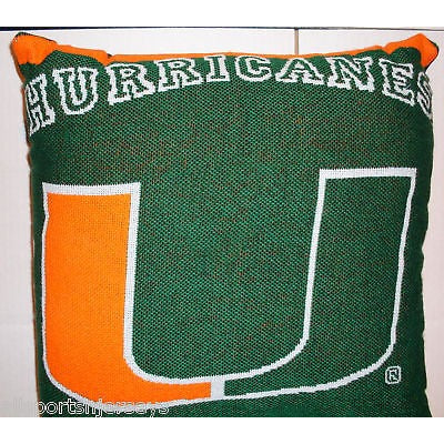 NCAA NWT 20x20  JACQUARD PILLOW - MIAMI HURRICANES