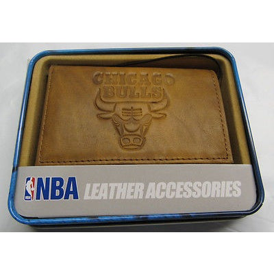 NBA Chicago Bulls Embossed TriFold Leather Wallet With Gift Box