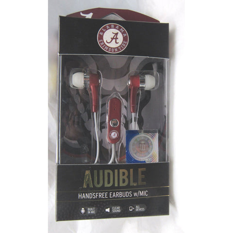 NCAA Alabama Crimson Tide Team Logo Earphones with Microphone by MIZCO