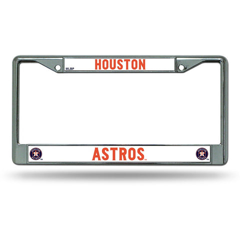 MLB Chrome License Plate Frame Houston Astros Thin Raised Letters
