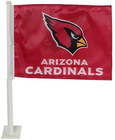 NFL Arizona Cardinals Logo Over Name on Black Window Car Flag Rico