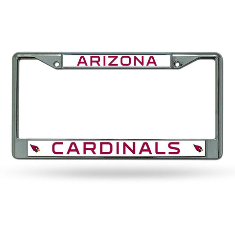 NFL Arizona Cardinals Chrome License Plate Frame Thin Red Letters