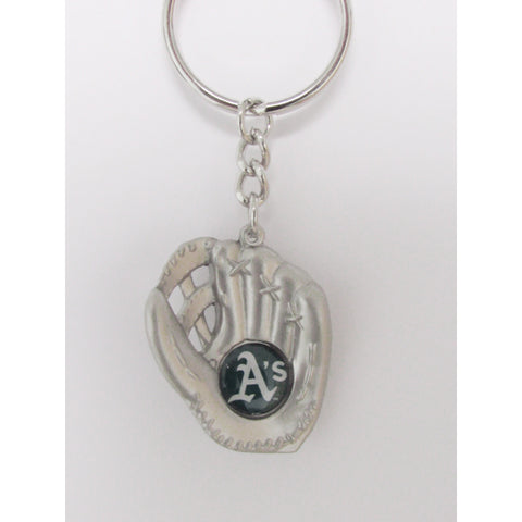 MLB Chrome Glove With Logo in Palm Key Chain Oakland Athletics AMINCO
