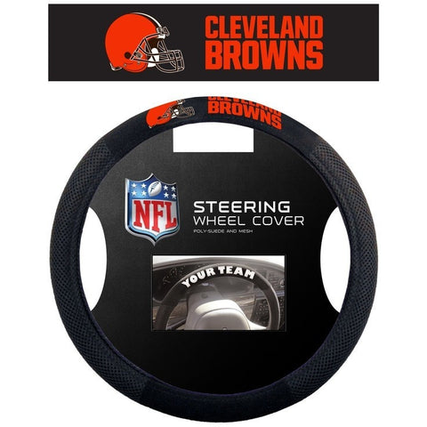 NFL Cleveland Browns Orange Letters Poly-Suede Mesh Steering Wheel Cover by Fremont Die