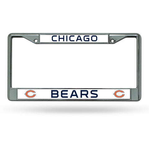 NFL Chicago Bears Chrome License Plate Frame Thin Letters