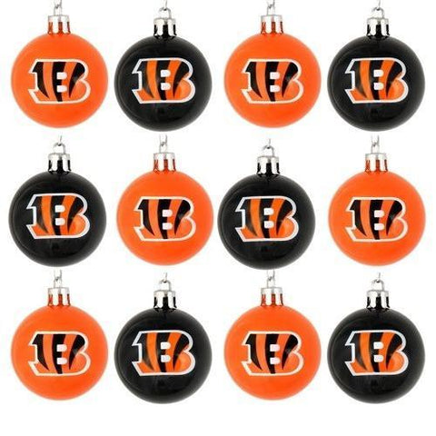 12 NFL Cincinnati Bengals Christmas Ornaments 2″ Plastic Ball Brown/Orange