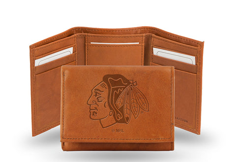NHL Chicago Blackhawks Embossed TriFold Leather Wallet With Gift Box