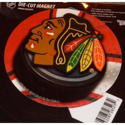 NHL Chicago Blackhawks Round Puck Style 4 inch Auto Magnet by WinCraft