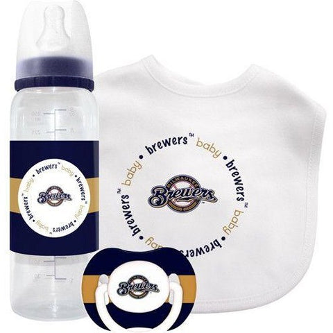 MLB Milwaukee Brewers Gift Set Bottle Bib Pacifier by baby fanatic