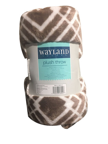 "Wayland Square Plush Throw Blanket Brown and White Squares 50"" X 60"""