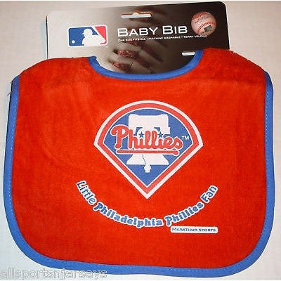 MLB Little Philadelphia Phillies Fan Infant Baby Bib Red Blue Trim Wincraft