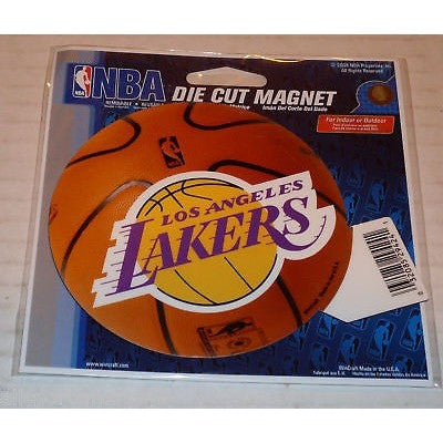 NBA Los Angeles Lakers Logo on Basketball 4 inch Auto Magnet by WinCraft