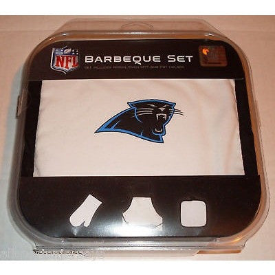 NFL Carolina Panthers BBQ Tailgate Kit 3 Piece Set Apron Oven Mitt Potholder McArthur