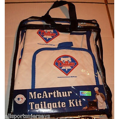 MLB Philadelphia Phillies BBQ Tailgate Kit 3 Piece Set Apron Oven Mitt Potholder McArthur