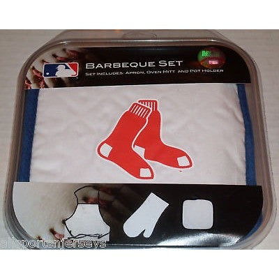 MLB Boston Red Sox BBQ Tailgate Kit 3 Piece Set Apron Oven Mitt Potholder McArthur
