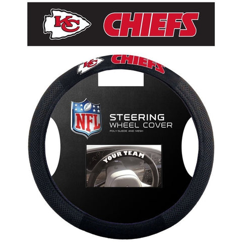 NFL POLY-SUEDE MESH STEERING WHEEL COVER KANSAS CITY CHIEFS