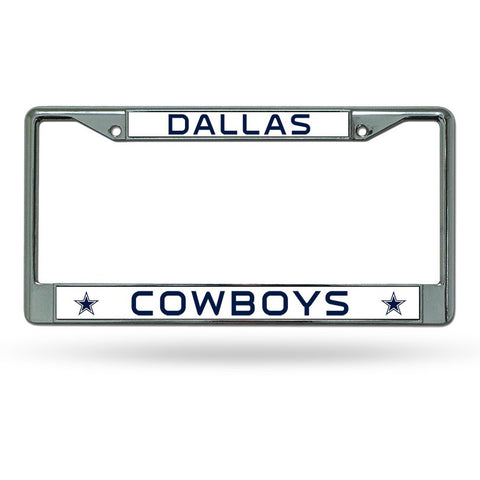 NFL Dallas Cowboys Chrome License Plate Frame Thin Letters