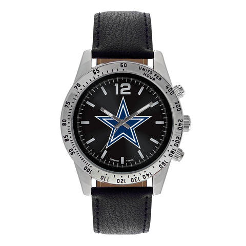 NFL Men's Watch Black Face Letterman Style by Game Time