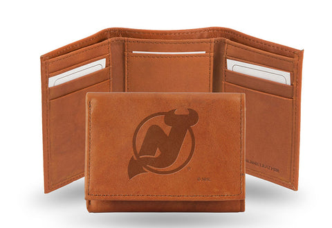 NHL New Jersey Devils Embossed TriFold Leather Wallet With Gift Box