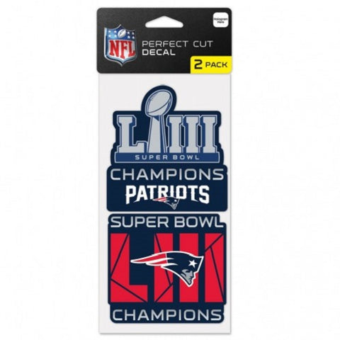 New England Patriots Super Bowl LIII Champions 2 pack Decals WinCraft