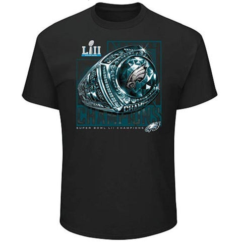 NFL Philadelphia Eagles Super Bowl LII Champions Ring Celebration Black Short Sleeve T-Shirt