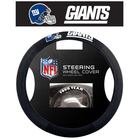 NFL POLY-SUEDE MESH STEERING WHEEL COVER NEW YORK GIANTS