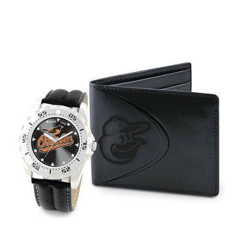 MLB Baltimore Orioles Leather Men's Black Watch and Leather Wallet Set by Game Time