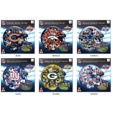 NFL Helmet Shaped 500 pc Jigsaw Puzzle by Masterpieces Puzzles Co