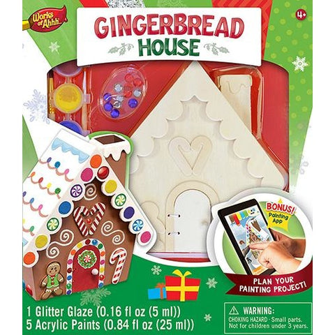 MasterPieces Works of Ahhh... Gingerbread House Figurine Large Wood Paint Kit
