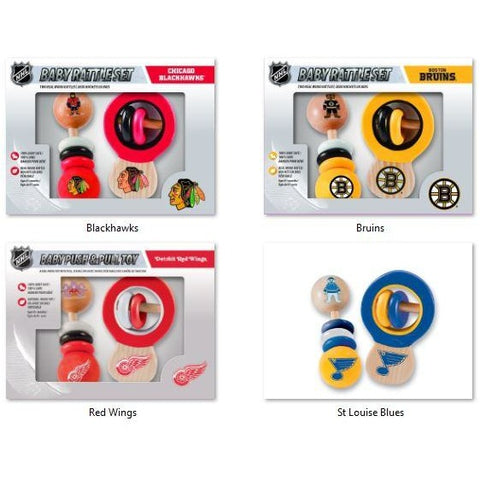 NHL Real Wood Baby Rattles (2-Pack) by MasterPieces Puzzle Co.