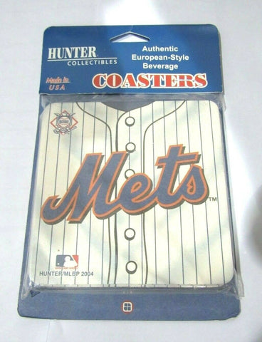MLB New York Mets Logo on Jersey Image Thick Paper Coasters 6 Pack