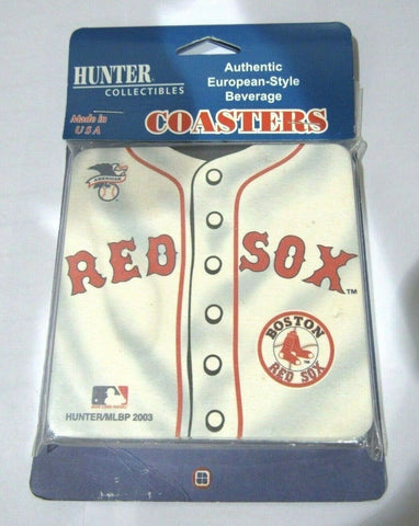MLB Red Sox Logo on Jersey Image Thick Paper Coasters 6 Pack