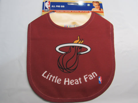 NBA Little Miami Heat Fan Infant Baby Bib Red Blue Trim Wincraft