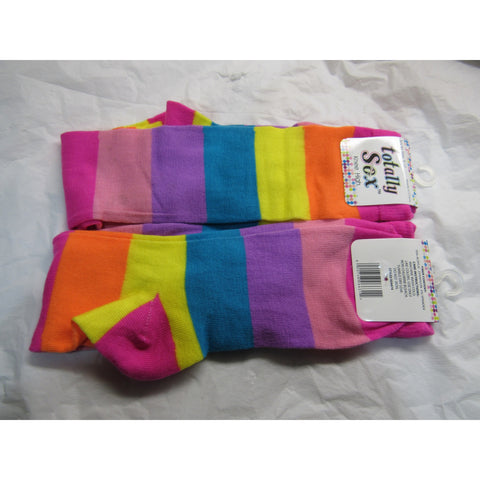 1 Pair Rainbow Colored Knee High Socks Size 9-11 by totally Sox