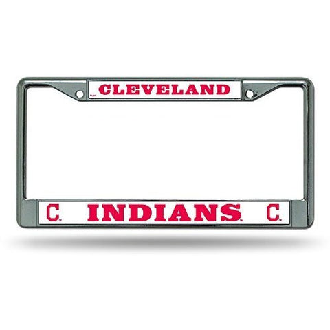 MLB Chrome License Plate Frame Cleveland Indians Thick Raised Letters