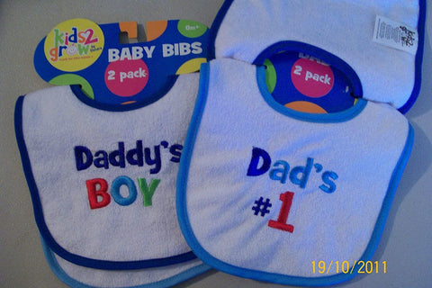 Baby Bibs Daddy's Boy and Dad's #1 by Kids 2 Grow