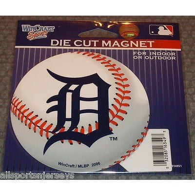 MLB Detroit Tigers Logo on Baseball 4 inch Auto Magnet by WinCraft