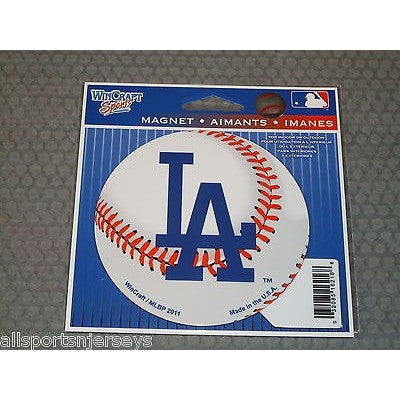 MLB Los Angeles Dodgers Alt Logo on Baseball 4 inch Auto Magnet by WinCraft