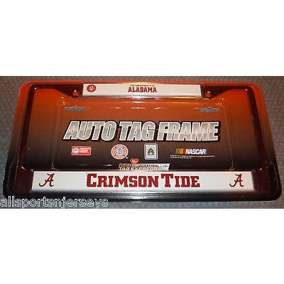 NCAA Alabama Crimson Tide Chrome License Plate Frame Full Name Top