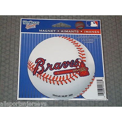 MLB Atlanta Braves Logo on Baseball 4 inch Auto Magnet by WinCraft