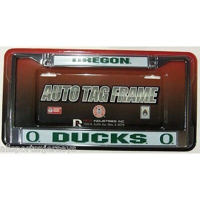 NCAA Oregon Ducks Chrome License Plate Frame Thick Letters