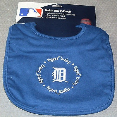 MLB Detroit Tigers Embroidered Infant Baby Bibs Blue 2 pack Wincraft