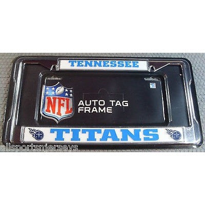 NFL Tennessee Titans Chrome License Plate Frame Thick Light Blue Letters