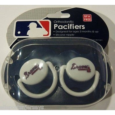 MLB Atlanta Braves Pacifiers Set of 2 w/ Solid Color Shield in Case