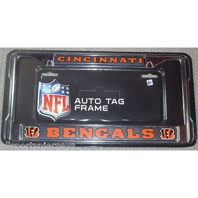 NFL Cincinnati Bengals Chrome License Plate Frame Black Insert